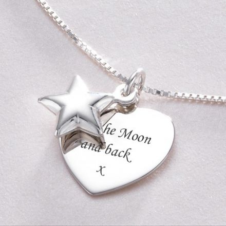 Engraved Star on Heart Necklace